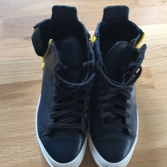 Diesel Blue Sneakers With Yellow Zipper